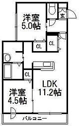 ディアマンテ菊水[3階]の間取り