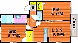 岡山県玉野市築港4の賃貸アパートの間取り