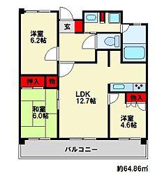 福岡県大野城市東大利3丁目の賃貸マンションの間取り