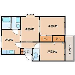 奈良県奈良市佐保台西町の賃貸アパートの間取り