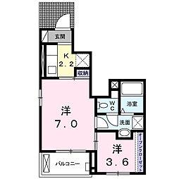 東合川6丁目アパート 1階1SKの間取り