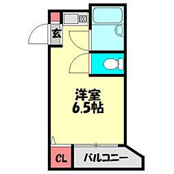 ロータリーマンション平代町 4階ワンルームの間取り
