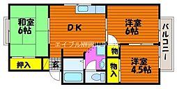 岡山県岡山市中区東川原丁目なしの賃貸アパートの間取り