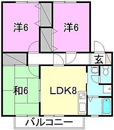 愛媛県松山市中央1丁目の賃貸アパートの間取り
