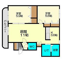 北海道札幌市厚別区青葉町16丁目の賃貸マンションの間取り