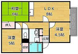 カルチェ東香里II B棟[2階]の間取り