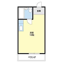 Uビル 2階ワンルームの間取り