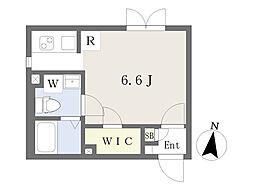 都営大江戸線 飯田橋駅 徒歩7分の賃貸マンション 4階ワンルームの間取り