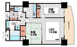 アップルタワー大阪谷町[9階]の間取り
