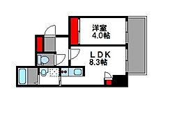 西鉄貝塚線 西鉄香椎駅 徒歩5分の賃貸マンション 2階1LDKの間取り