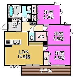 Feliseed 三国ヶ丘[1階]の間取り