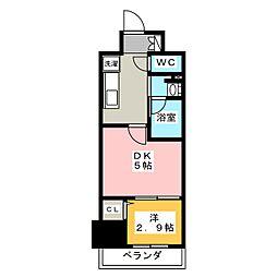 パークアクシス新栄 10階1DKの間取り