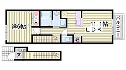 山陽電鉄本線 藤江駅 徒歩4分の賃貸アパート 2階1LDKの間取り