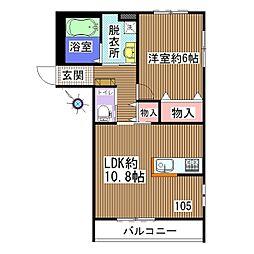 ココハイム松波2号館[105号室]の間取り