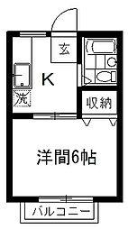 メゾン秋山 2階1Kの間取り