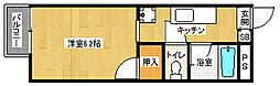 京都府京都市左京区北白川山田町の賃貸アパートの間取り