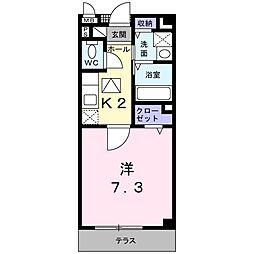 JR片町線(学研都市線) 野崎駅 徒歩11分の賃貸アパート 1階1Kの間取り