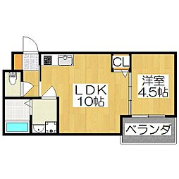 T.A下神泉苑町 3階1LDKの間取り