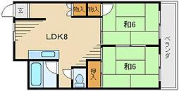 富士コーポラス[4階]の間取り