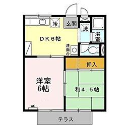 コーポ加茂川[北102号室]の間取り