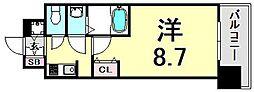 エスライズ新神戸II 6階1Kの間取り