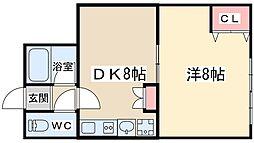 Osaka Metro御堂筋線 中津駅 徒歩9分の賃貸マンション 3階1DKの間取り