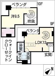 OZ alloggio[10階]の間取り