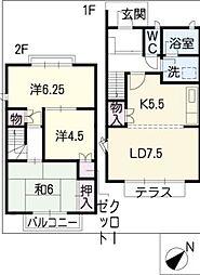 タウンハウス宝田F棟[2階]の間取り