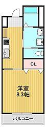 大阪狭山市半田5丁目新築マンション 2階1Kの間取り