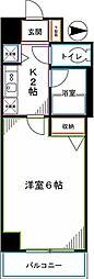 JR中央本線 国分寺駅 徒歩2分の賃貸マンション 4階1Kの間取り