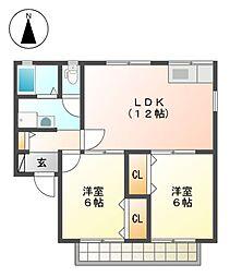 愛知県名古屋市北区楠味鋺1の賃貸アパートの間取り