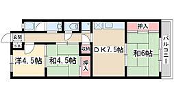 Osaka Metro御堂筋線 西中島南方駅 徒歩17分の賃貸マンション 2階3DKの間取り