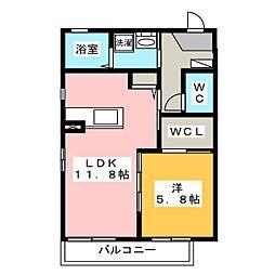 サニーガーデン神村 1階1LDKの間取り