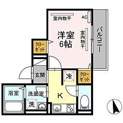JR山陽本線 東福山駅 3.6kmの賃貸アパート 3階1Kの間取り