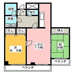 タウン唐山F[3階]の間取り