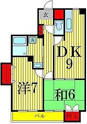 クリスタルSUN梅島[301号室]の間取り