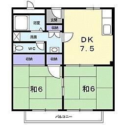 南海高野線 狭山駅 徒歩9分の賃貸アパート 2階2DKの間取り