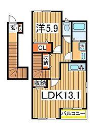 千葉県白井市根の賃貸アパートの間取り