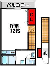 コーポ日の里 壱番館 2階ワンルームの間取り