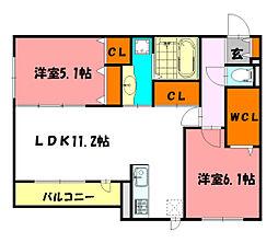 仮称)鳥羽D-Room[3階]の間取り