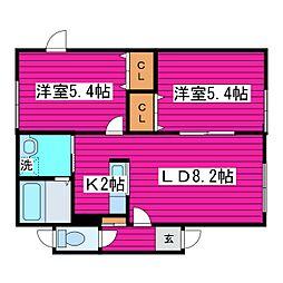 北海道札幌市東区東苗穂九条2丁目の賃貸アパートの間取り