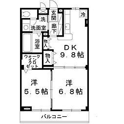 兵庫県三木市緑が丘町西の賃貸アパートの間取り