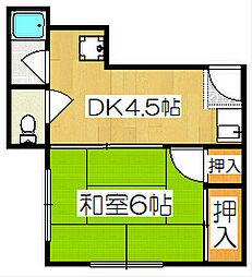 タウニータキノ2[1階]の間取り