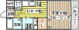 大阪府大阪市東淀川区下新庄4丁目の賃貸アパートの間取り