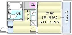 仙台市地下鉄東西線 川内駅 徒歩5分の賃貸マンション 3階1Kの間取り