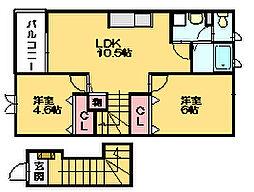 シャイニング ウエストA[2階]の間取り