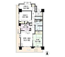 川崎パーク・ホームズ(高層階、角部屋、2面採光)[1001号室]の間取り