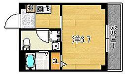 大阪府茨木市駅前2丁目の賃貸マンションの間取り