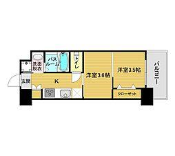 ORIENT BLD No.122(2K Bタイプ) 12階2Kの間取り
