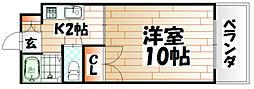 福岡県北九州市八幡東区西本町1の賃貸マンションの間取り